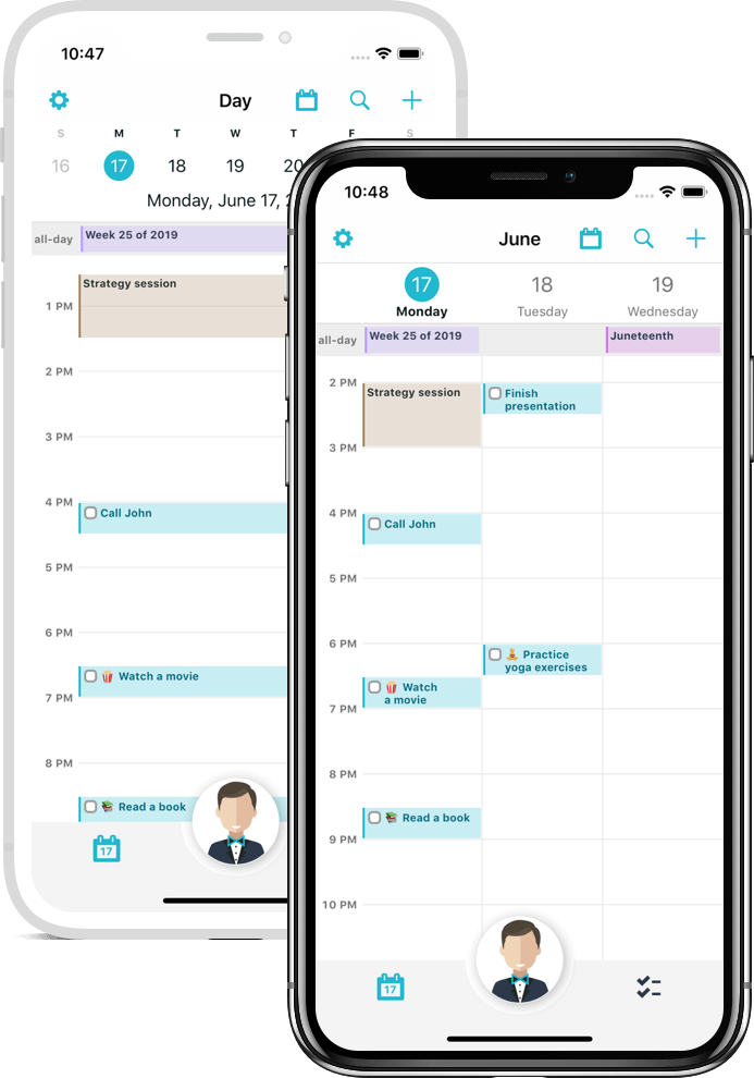 One and three day calendar view of the Butleroy app