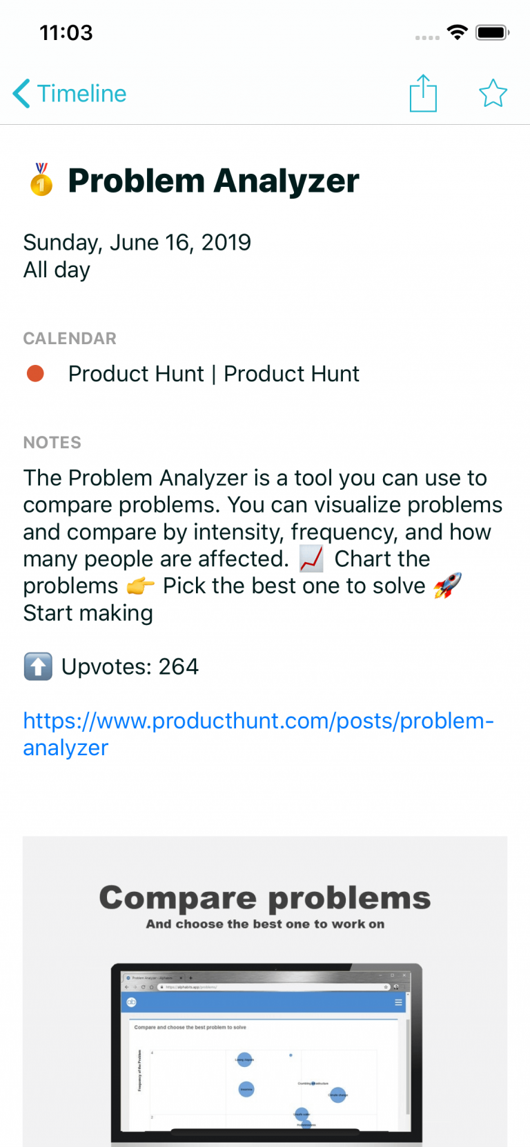 """See top three """"Products of the day"""" from Product Hunt right in your calendar"""