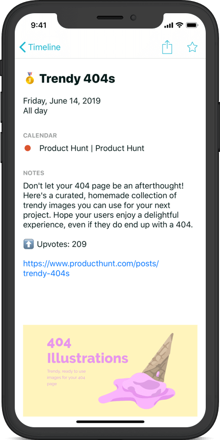Product Hunt details with all information right in your calendar