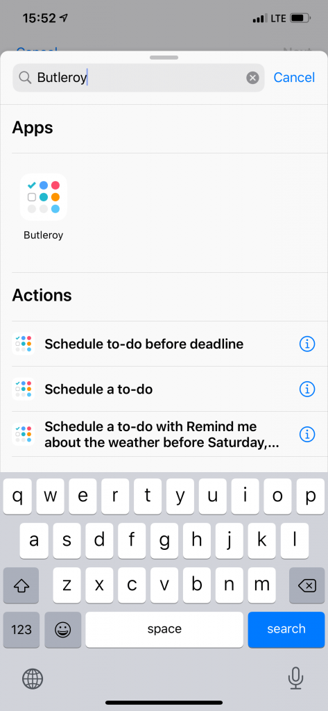 Search for Butleroy actions in Siri Shortcuts.