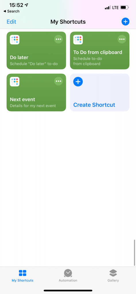 The overview of the Siri Shortcuts app.